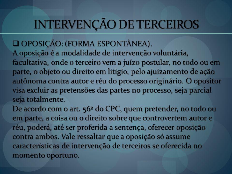 INTERVENÇÃO DE TERCEIROS OPOSIÇÃO: (FORMA ESPONTÂNEA). OPOSIÇÃO: (FORMA ESPONTÂNEA). A oposição é a modalidade de intervenção voluntária, facultativa,