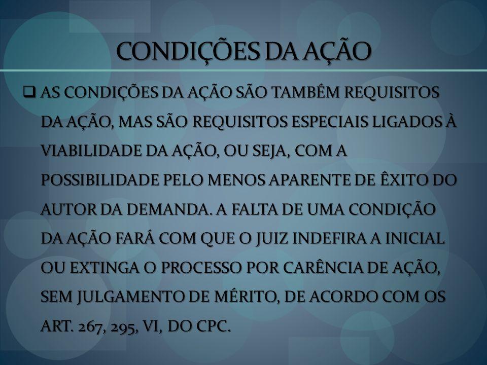 CONDIÇÕES DA AÇÃO LEGITIMIDADE PARA A CAUSA: LEGITIMIDADE PARA A CAUSA: Legítimos para figurar em uma demanda judicial são os titulares dos interesses em conflito (legitimidade ordinária).