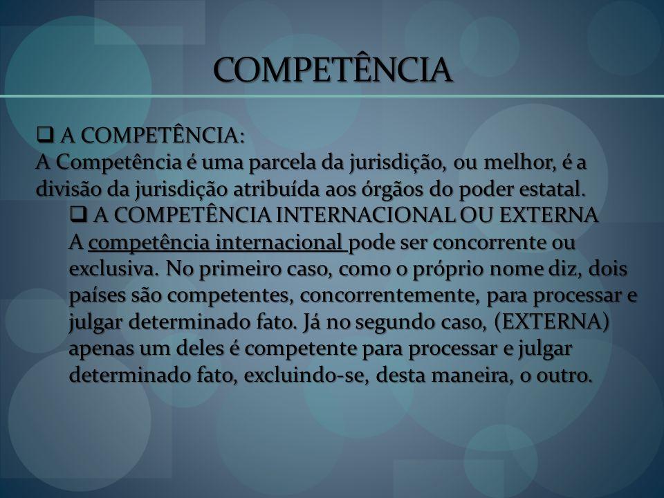 COMPETÊNCIA A COMPETÊNCIA: A COMPETÊNCIA: A Competência é uma parcela da jurisdição, ou melhor, é a divisão da jurisdição atribuída aos órgãos do pode