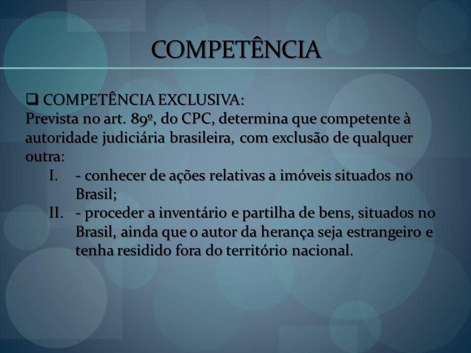COMPETÊNCIA COMPETÊNCIA EXCLUSIVA: COMPETÊNCIA EXCLUSIVA: Prevista no art. 89º, do CPC, determina que competente à autoridade judiciária brasileira, c