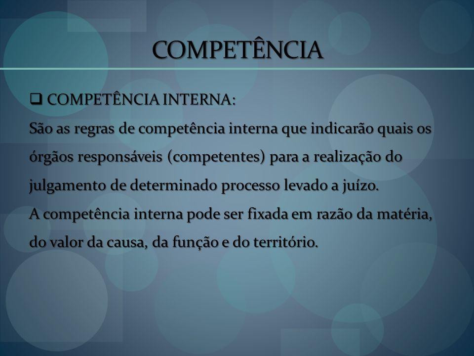 COMPETÊNCIA COMPETÊNCIA INTERNA: COMPETÊNCIA INTERNA: São as regras de competência interna que indicarão quais os órgãos responsáveis (competentes) pa