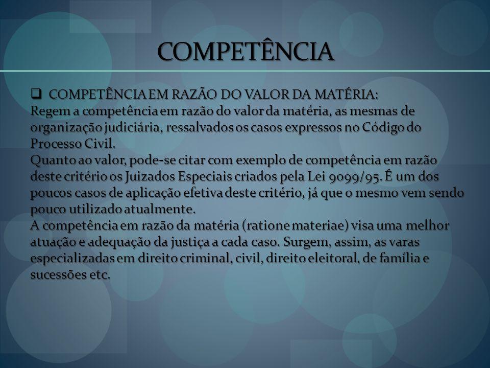 COMPETÊNCIA COMPETÊNCIA EM RAZÃO DO VALOR DA MATÉRIA: COMPETÊNCIA EM RAZÃO DO VALOR DA MATÉRIA: Regem a competência em razão do valor da matéria, as m