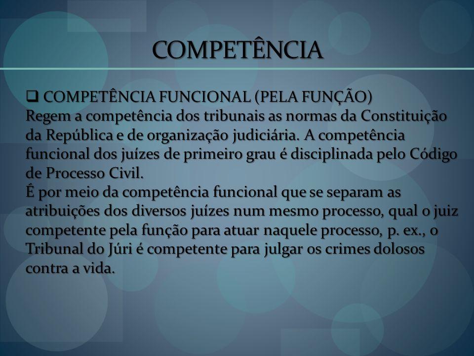 COMPETÊNCIA COMPETÊNCIA FUNCIONAL (PELA FUNÇÃO) COMPETÊNCIA FUNCIONAL (PELA FUNÇÃO) Regem a competência dos tribunais as normas da Constituição da Rep