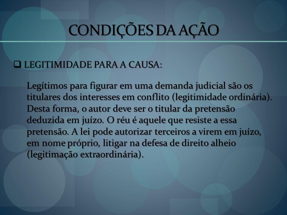 CONDIÇÕES DA AÇÃO LEGITIMIDADE PARA A CAUSA: LEGITIMIDADE PARA A CAUSA: Legítimos para figurar em uma demanda judicial são os titulares dos interesses