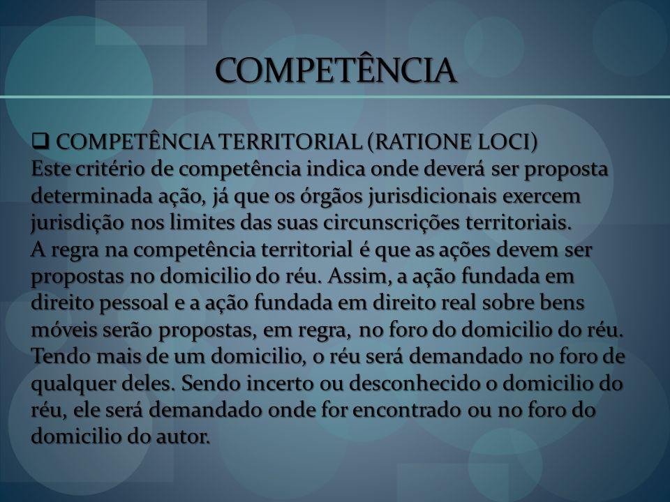 COMPETÊNCIA COMPETÊNCIA TERRITORIAL (RATIONE LOCI) COMPETÊNCIA TERRITORIAL (RATIONE LOCI) Este critério de competência indica onde deverá ser proposta
