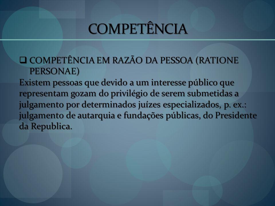 COMPETÊNCIA COMPETÊNCIA EM RAZÃO DA PESSOA (RATIONE PERSONAE) COMPETÊNCIA EM RAZÃO DA PESSOA (RATIONE PERSONAE) Existem pessoas que devido a um intere