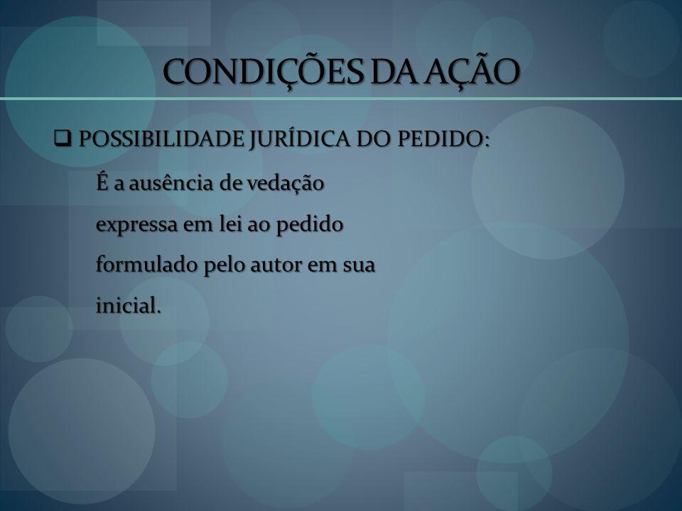 CONDIÇÕES DA AÇÃO POSSIBILIDADE JURÍDICA DO PEDIDO: POSSIBILIDADE JURÍDICA DO PEDIDO: É a ausência de vedação expressa em lei ao pedido formulado pelo