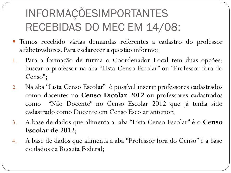 INFORMAÇÕESIMPORTANTES RECEBIDAS DO MEC EM 14/08: Temos recebido várias demandas referentes a cadastro do professor alfabetizadores. Para esclarecer a