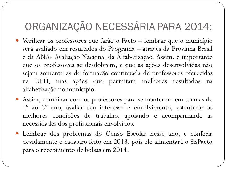 ORGANIZAÇÃO NECESSÁRIA PARA 2014: Verificar os professores que farão o Pacto – lembrar que o município será avaliado em resultados do Programa – atrav