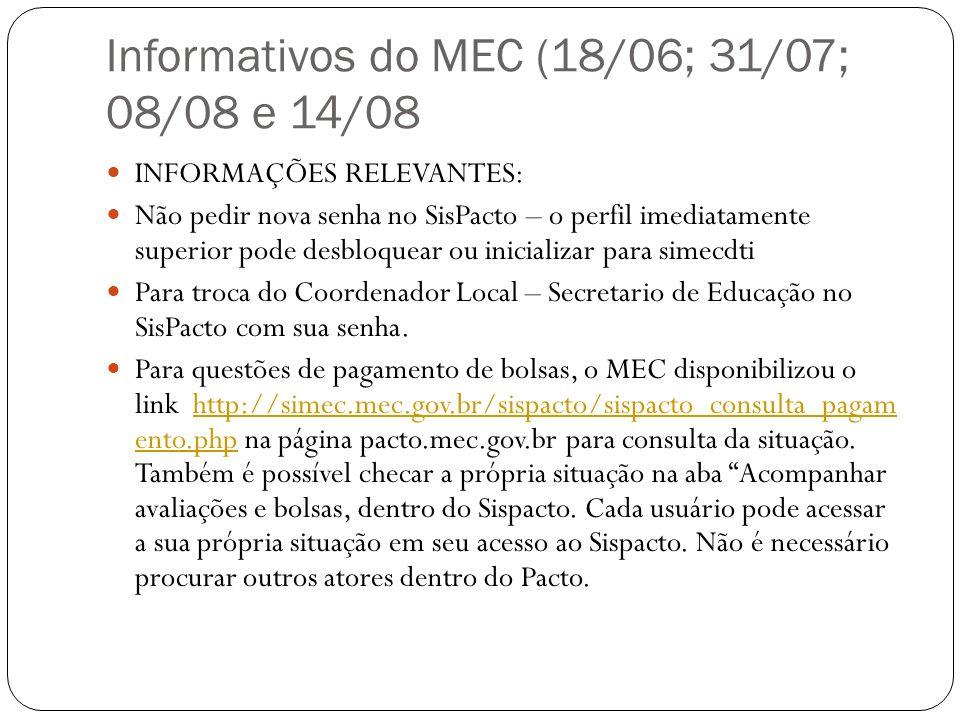 Informativos do MEC (18/06; 31/07; 08/08 e 14/08 INFORMAÇÕES RELEVANTES: Não pedir nova senha no SisPacto – o perfil imediatamente superior pode desbl