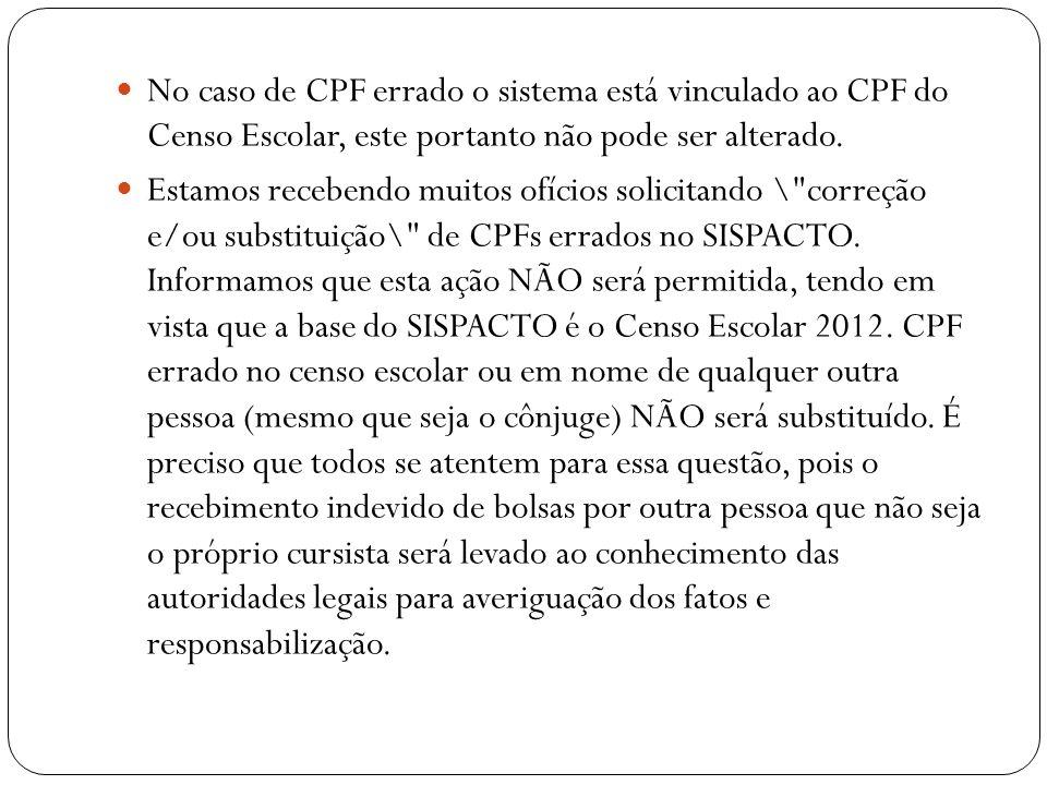 No caso de CPF errado o sistema está vinculado ao CPF do Censo Escolar, este portanto não pode ser alterado. Estamos recebendo muitos ofícios solicita
