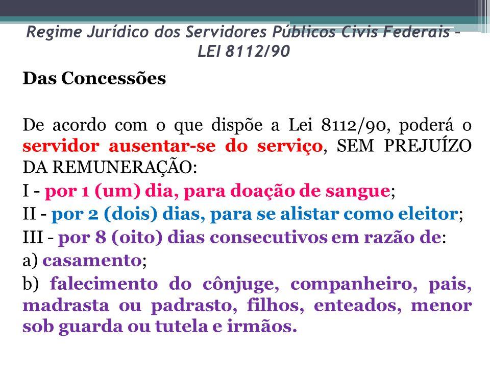 Regime Jurídico dos Servidores Públicos Civis Federais – LEI 8112/90 Das Concessões De acordo com o que dispõe a Lei 8112/90, poderá o servidor ausent