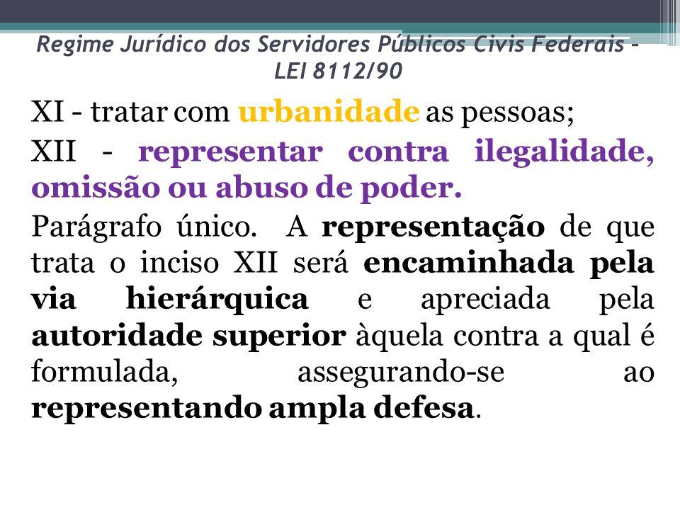 Regime Jurídico dos Servidores Públicos Civis Federais – LEI 8112/90 XI - tratar com urbanidade as pessoas; XII - representar contra ilegalidade, omis