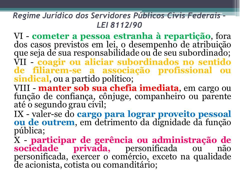 Regime Jurídico dos Servidores Públicos Civis Federais – LEI 8112/90 VI - cometer a pessoa estranha à repartição, fora dos casos previstos em lei, o d