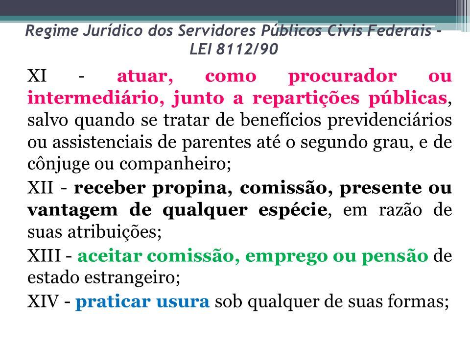 Regime Jurídico dos Servidores Públicos Civis Federais – LEI 8112/90 XI - atuar, como procurador ou intermediário, junto a repartições públicas, salvo