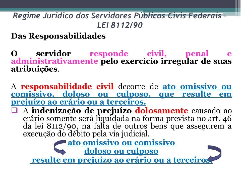 Regime Jurídico dos Servidores Públicos Civis Federais – LEI 8112/90 Das Responsabilidades O servidor responde civil, penal e administrativamente pelo