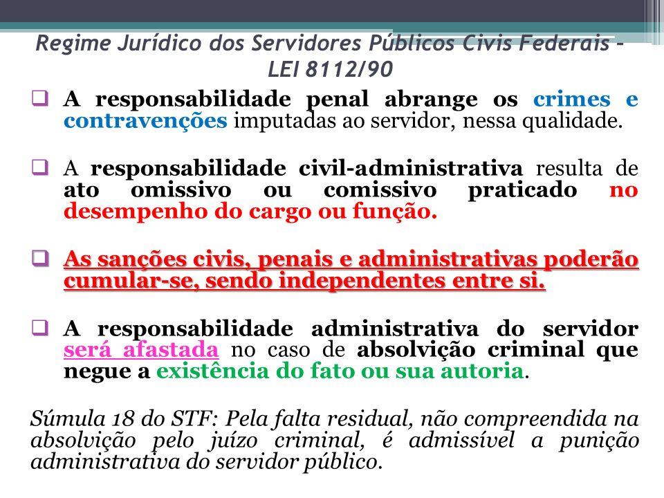 Regime Jurídico dos Servidores Públicos Civis Federais – LEI 8112/90 A responsabilidade penal abrange os crimes e contravenções imputadas ao servidor,