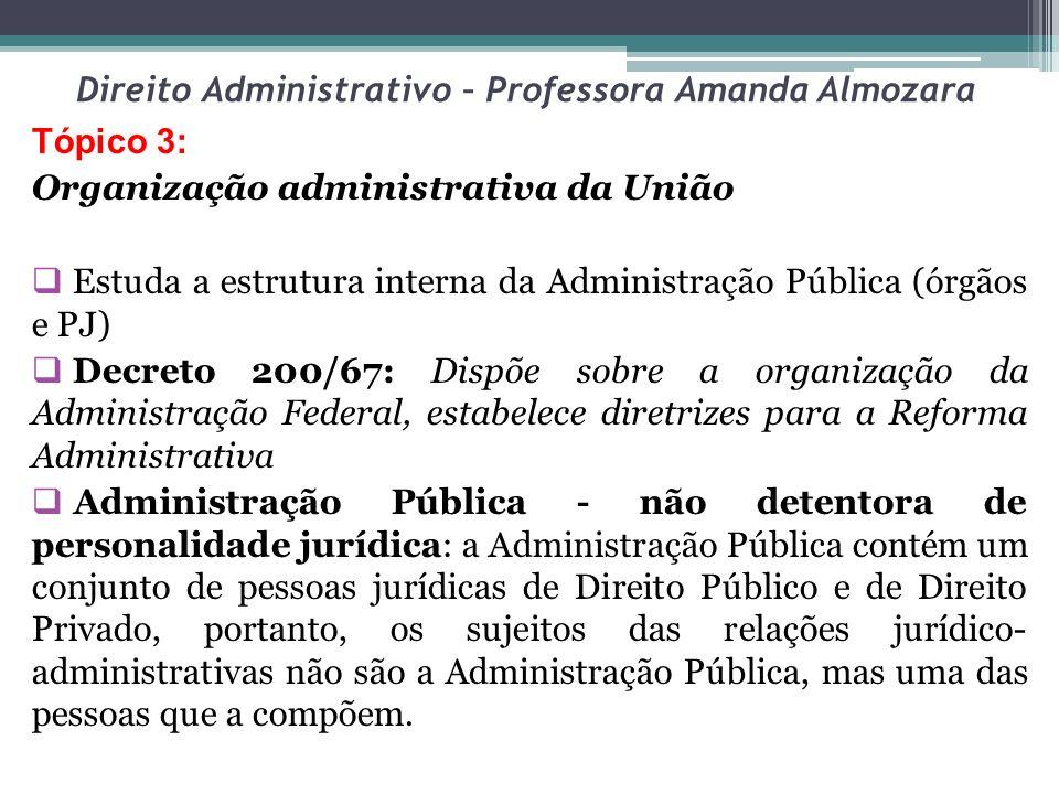 Direito Administrativo – Professora Amanda Almozara Subordinação hierárquica (órgãos públicos) Autonomia (Autarquias) Autonomia qualificada (agências reguladoras) Independência (poderes estatais) ACOMPANHE O QUADRO ESQUEMÁTICO: