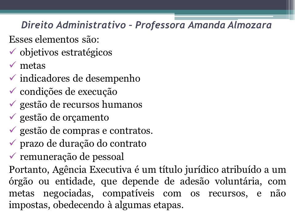Direito Administrativo – Professora Amanda Almozara Esses elementos são: objetivos estratégicos metas indicadores de desempenho condições de execução