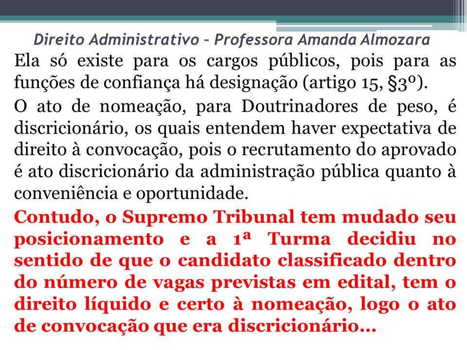 Direito Administrativo – Professora Amanda Almozara Ela só existe para os cargos públicos, pois para as funções de confiança há designação (artigo 15,