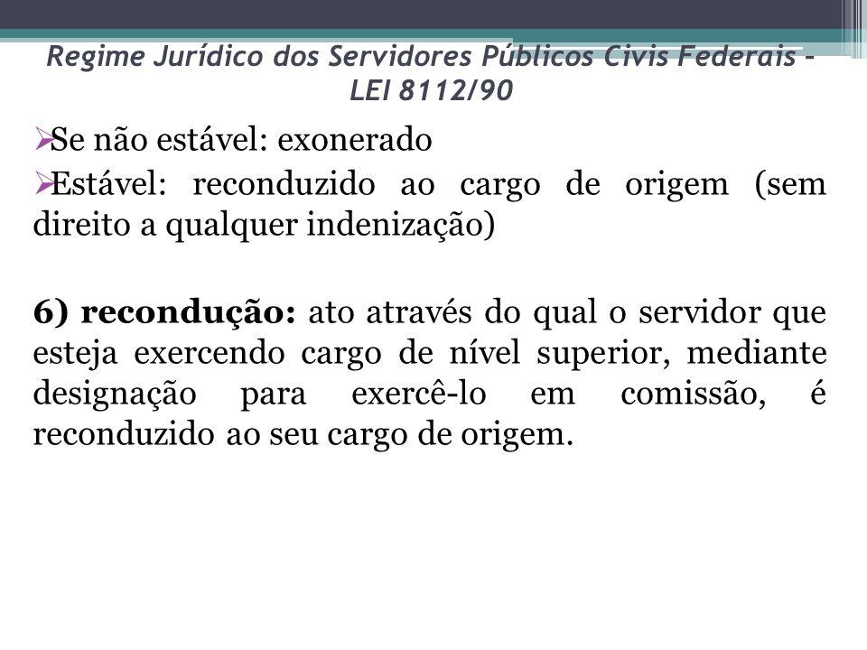 Regime Jurídico dos Servidores Públicos Civis Federais – LEI 8112/90 Se não estável: exonerado Estável: reconduzido ao cargo de origem (sem direito a