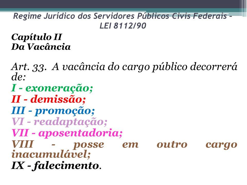 Regime Jurídico dos Servidores Públicos Civis Federais – LEI 8112/90 Capítulo II Da Vacância Art. 33. A vacância do cargo público decorrerá de: I - ex