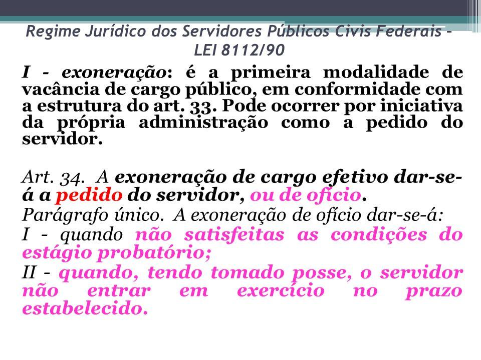 Regime Jurídico dos Servidores Públicos Civis Federais – LEI 8112/90 I - exoneração: é a primeira modalidade de vacância de cargo público, em conformi