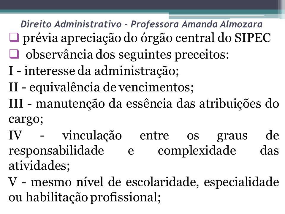 Direito Administrativo – Professora Amanda Almozara prévia apreciação do órgão central do SIPEC observância dos seguintes preceitos: I - interesse da