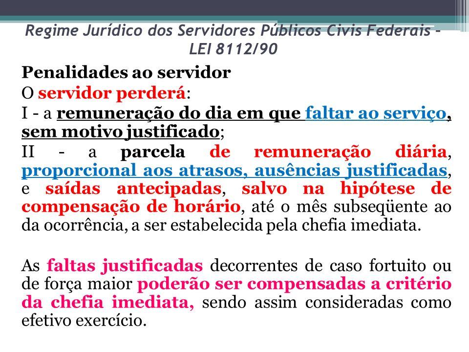 Regime Jurídico dos Servidores Públicos Civis Federais – LEI 8112/90 Penalidades ao servidor O servidor perderá: I - a remuneração do dia em que falta