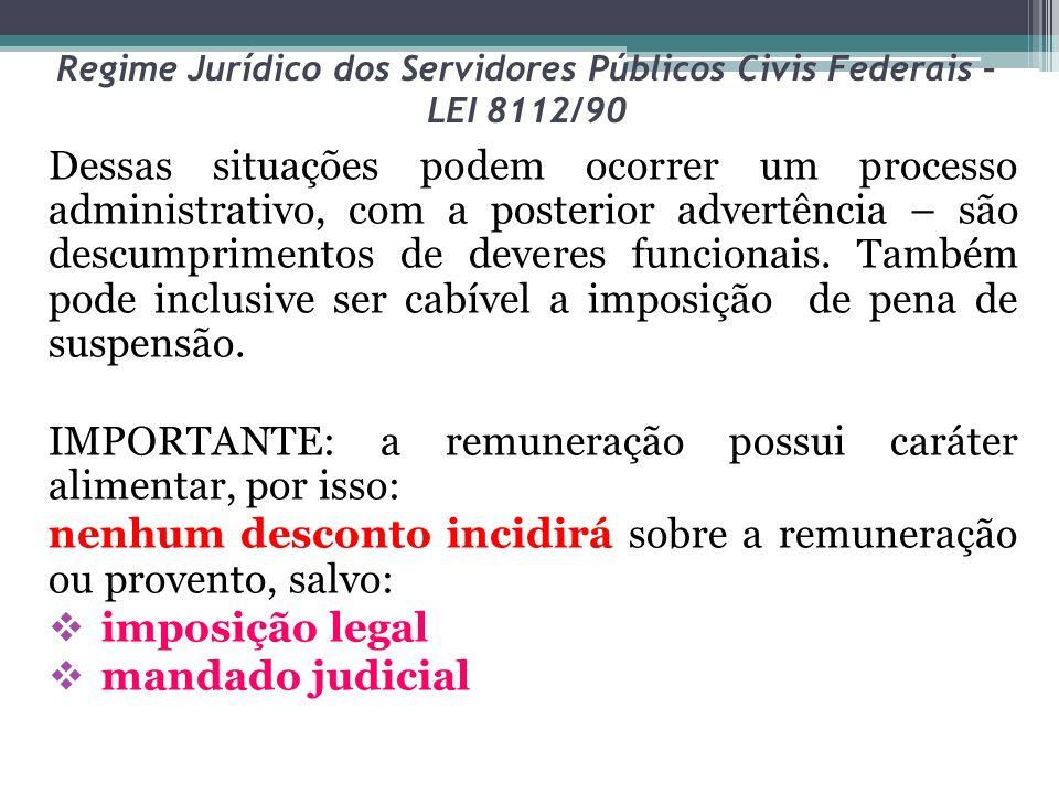 Regime Jurídico dos Servidores Públicos Civis Federais – LEI 8112/90 Dessas situações podem ocorrer um processo administrativo, com a posterior advert