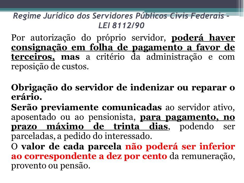 Regime Jurídico dos Servidores Públicos Civis Federais – LEI 8112/90 Por autorização do próprio servidor, poderá haver consignação em folha de pagamen