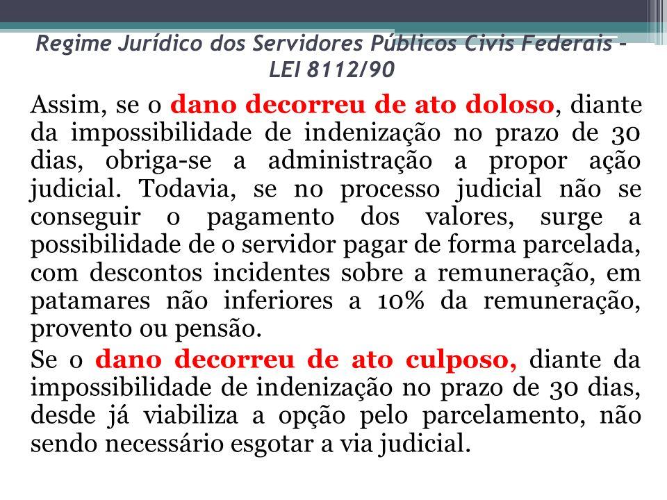 Regime Jurídico dos Servidores Públicos Civis Federais – LEI 8112/90 Assim, se o dano decorreu de ato doloso, diante da impossibilidade de indenização