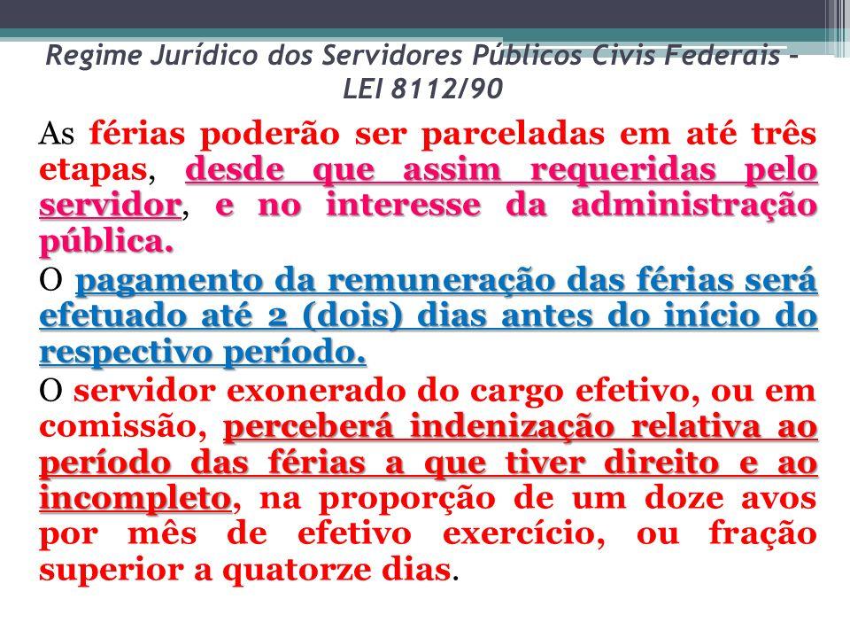 Regime Jurídico dos Servidores Públicos Civis Federais – LEI 8112/90 desde que assim requeridas pelo servidore no interesse da administração pública.