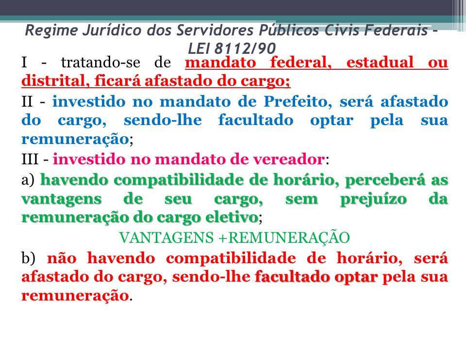 Regime Jurídico dos Servidores Públicos Civis Federais – LEI 8112/90 I - tratando-se de mandato federal, estadual ou distrital, ficará afastado do car