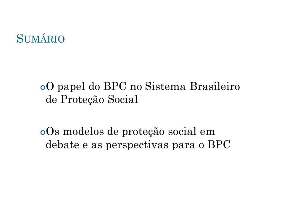 O BPC COMO PARTE DO S ISTEMA B RASILEIRO DE P ROTEÇÃO S OCIAL os sistemas de proteção social visam instituir mecanismos de garantia de acesso, fora do mercado, a bens, serviços e renda.