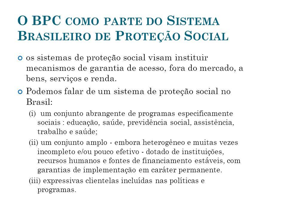 O BPC COMO PARTE DO S ISTEMA B RASILEIRO DE P ROTEÇÃO S OCIAL os sistemas de proteção social visam instituir mecanismos de garantia de acesso, fora do