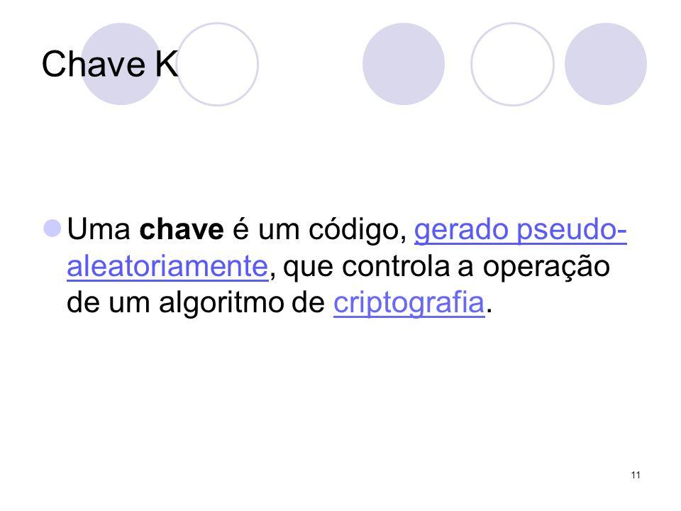 Chave K Uma chave é um código, gerado pseudo- aleatoriamente, que controla a operação de um algoritmo de criptografia.criptografia 11