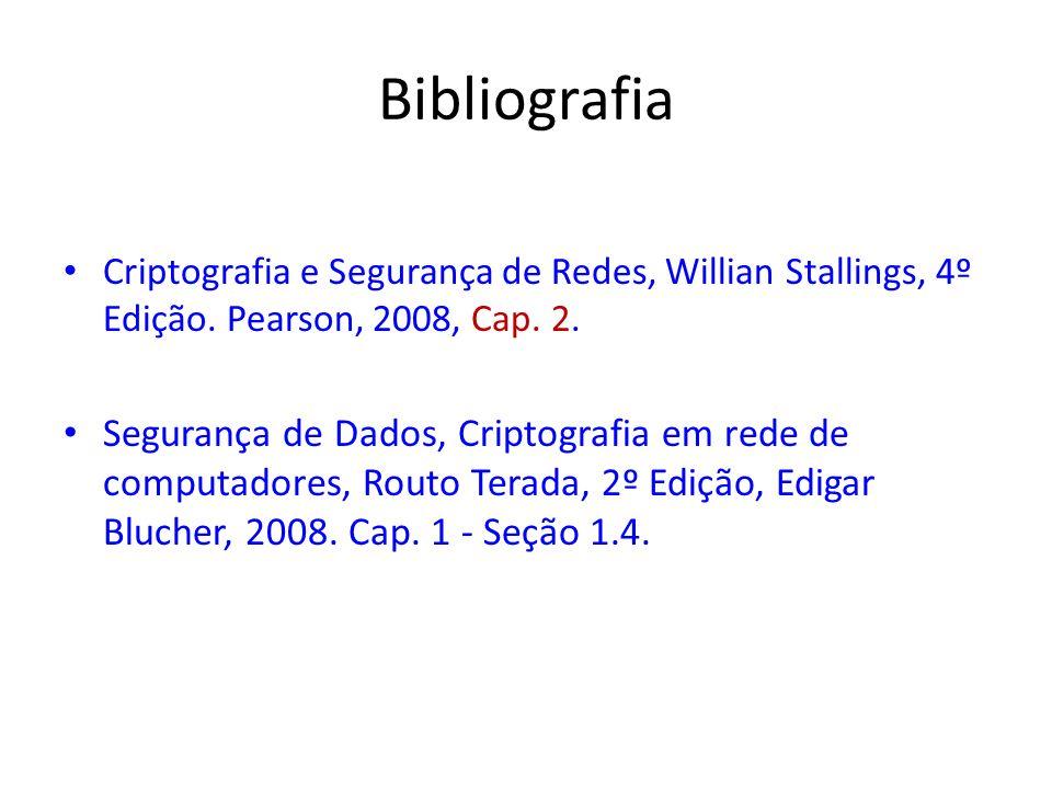 Bibliografia Criptografia e Segurança de Redes, Willian Stallings, 4º Edição. Pearson, 2008, Cap. 2. Segurança de Dados, Criptografia em rede de compu