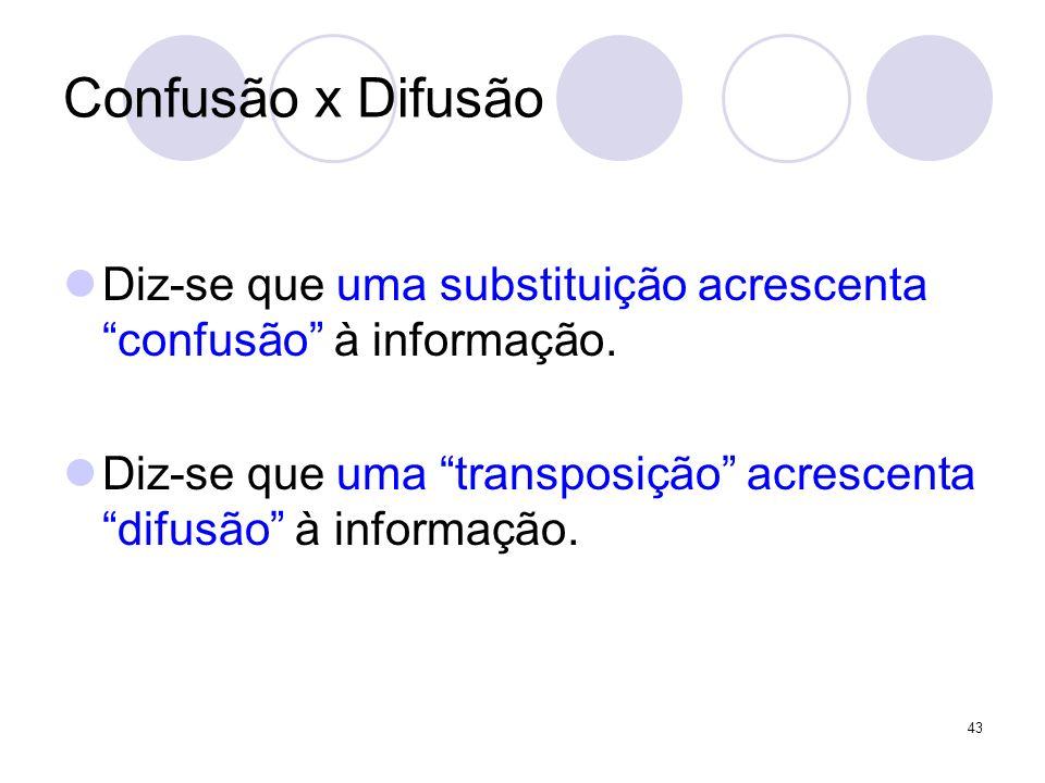 Confusão x Difusão Diz-se que uma substituição acrescenta confusão à informação. Diz-se que uma transposição acrescenta difusão à informação. 43