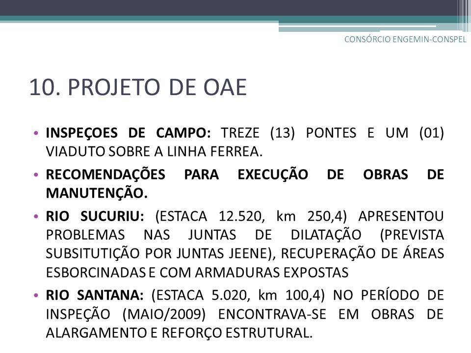 10. PROJETO DE OAE INSPEÇOES DE CAMPO: TREZE (13) PONTES E UM (01) VIADUTO SOBRE A LINHA FERREA. RECOMENDAÇÕES PARA EXECUÇÃO DE OBRAS DE MANUTENÇÃO. R