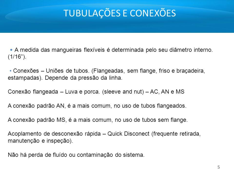 5 TUBULAÇÕES E CONEXÕES A medida das mangueiras flexíveis é determinada pelo seu diâmetro interno. (1/16). Conexões – Uniões de tubos. (Flangeadas, se