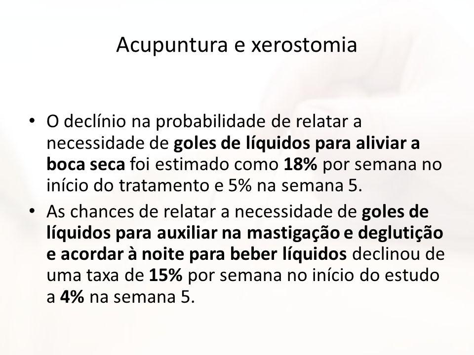 Acupuntura e xerostomia O declínio na probabilidade de relatar a necessidade de goles de líquidos para aliviar a boca seca foi estimado como 18% por s