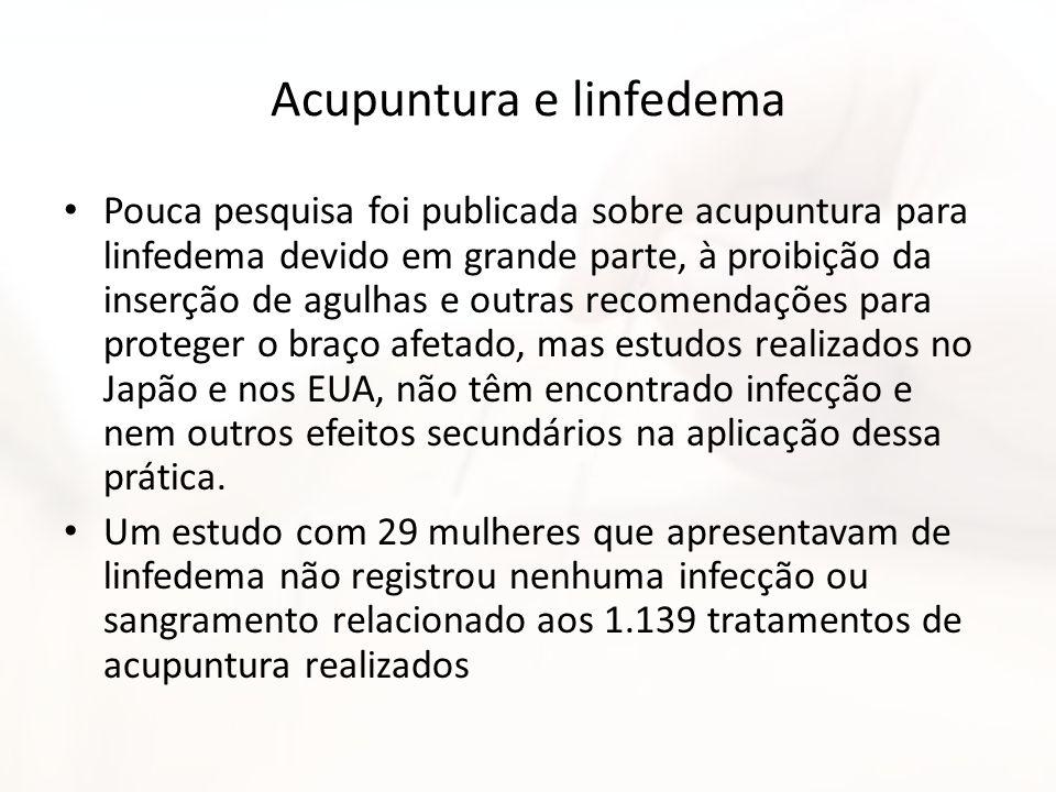 Acupuntura e linfedema Pouca pesquisa foi publicada sobre acupuntura para linfedema devido em grande parte, à proibição da inserção de agulhas e outra