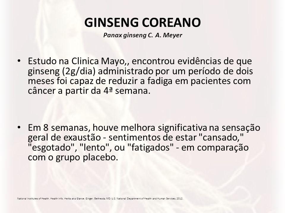GINSENG COREANO Panax ginseng C. A. Meyer Estudo na Clinica Mayo,, encontrou evidências de que ginseng (2g/dia) administrado por um período de dois me