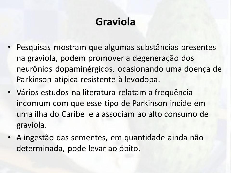 Graviola Pesquisas mostram que algumas substâncias presentes na graviola, podem promover a degeneração dos neurônios dopaminérgicos, ocasionando uma d