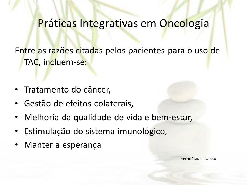 Entre as razões citadas pelos pacientes para o uso de TAC, incluem-se: Tratamento do câncer, Gestão de efeitos colaterais, Melhoria da qualidade de vi