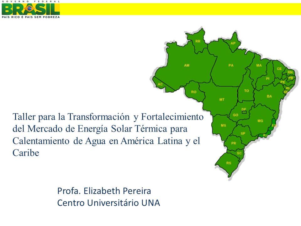 Profa. Elizabeth Pereira Centro Universitário UNA Taller para la Transformación y Fortalecimiento del Mercado de Energía Solar Térmica para Calentamie