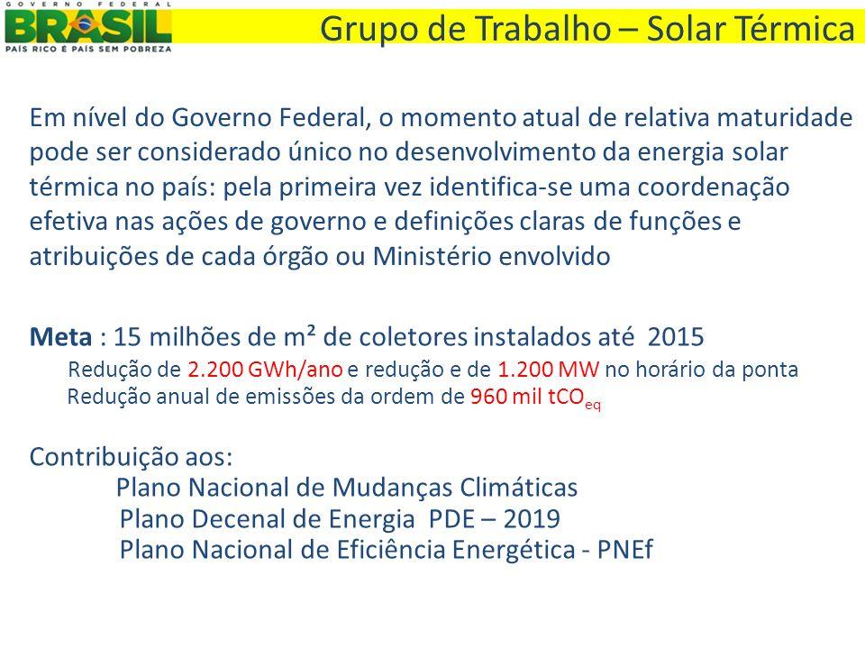 Grupo de Trabalho – Solar Térmica Em nível do Governo Federal, o momento atual de relativa maturidade pode ser considerado único no desenvolvimento da