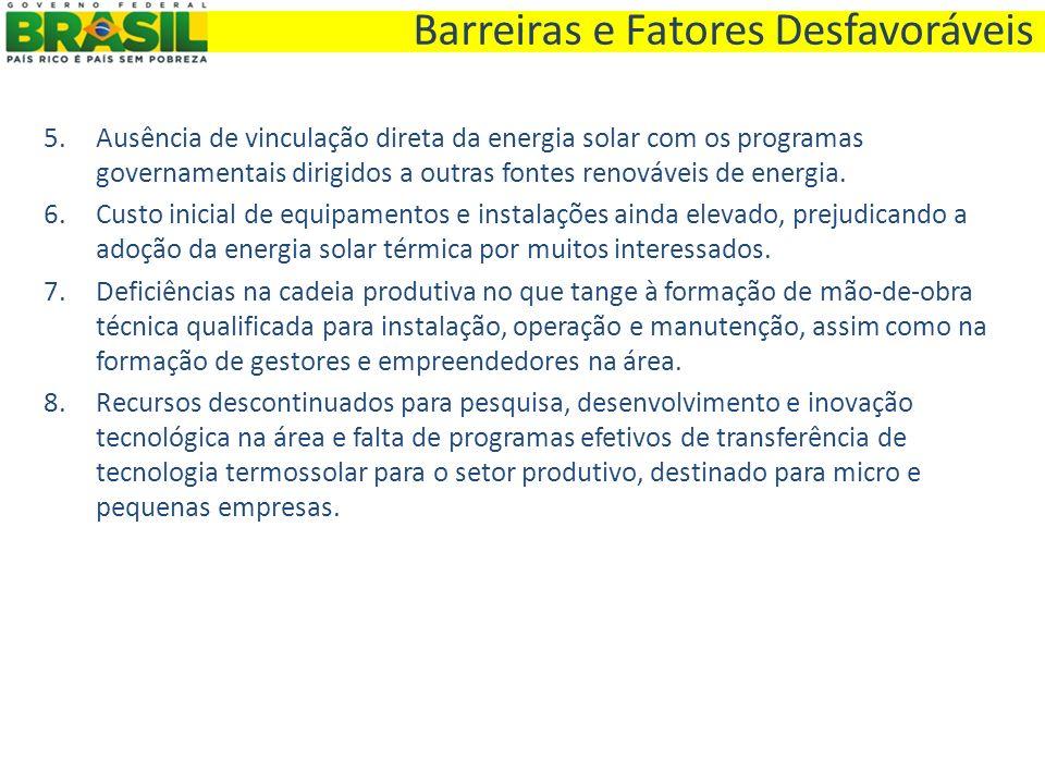. 5.Ausência de vinculação direta da energia solar com os programas governamentais dirigidos a outras fontes renováveis de energia. 6.Custo inicial de