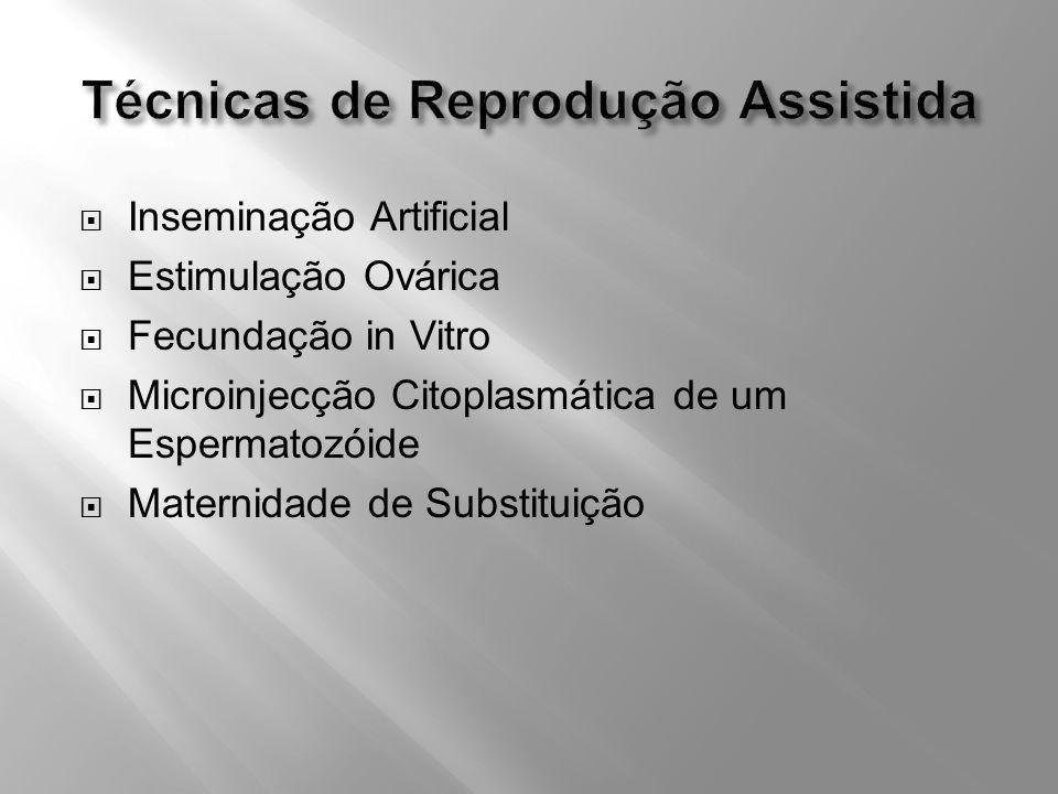 Inseminação Artificial Estimulação Ovárica Fecundação in Vitro Microinjecção Citoplasmática de um Espermatozóide Maternidade de Substituição